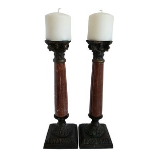 Vintage Bronze & Marble Candlesticks - a Pair For Sale