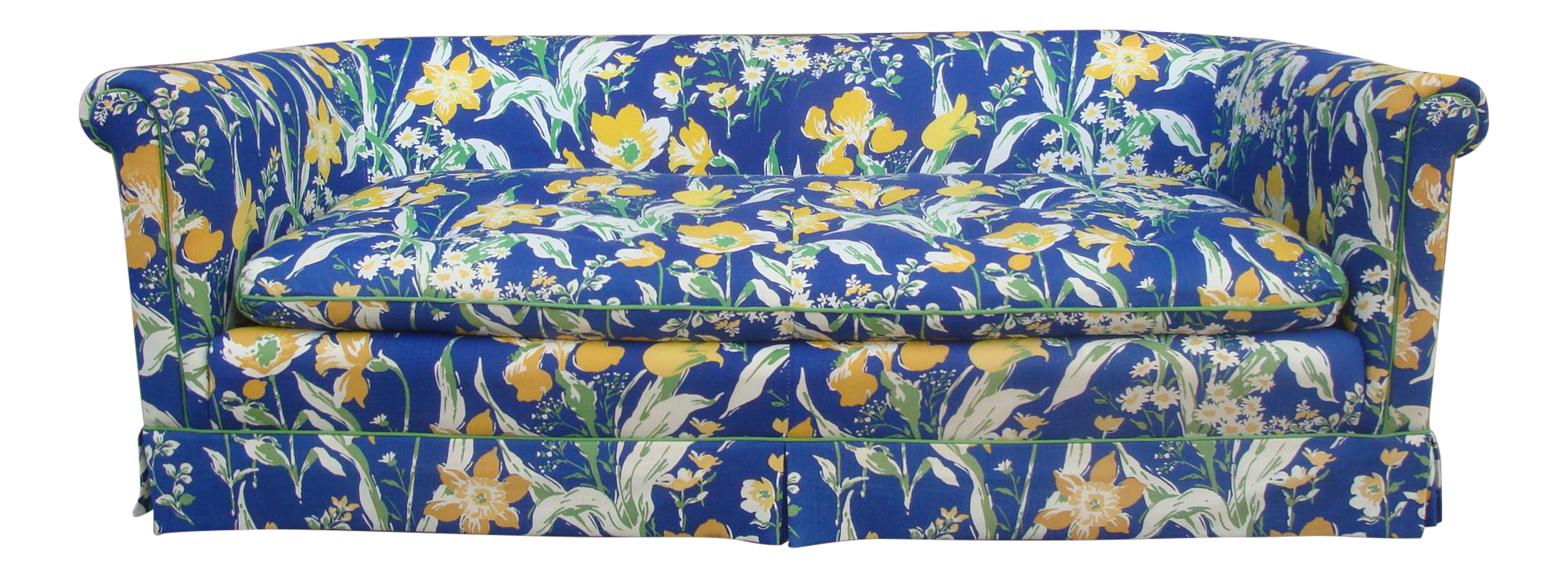 1970s Blue Amp Yellow Floral Sofa By Highland House Of