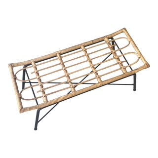 1950s French Modernist Rattan & Iron Bench For Sale