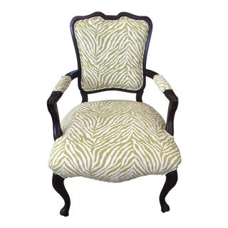 1910s Traditional Zebra Fabric Armchair For Sale