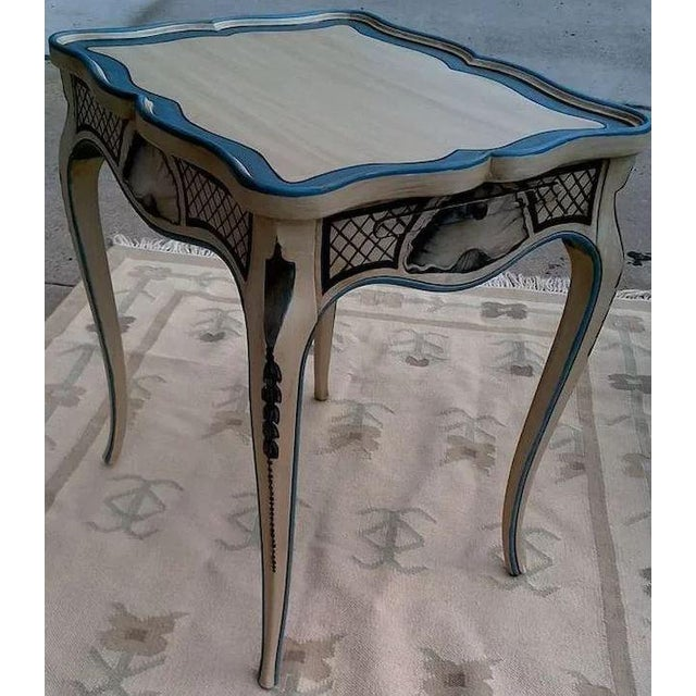 Tea Tables With French Style Paint Cabriole Legs and Candle Slides - a Pair For Sale - Image 4 of 11