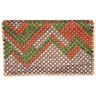 1920's French Art Deco Crystal and Coral Clutch Bag For Sale
