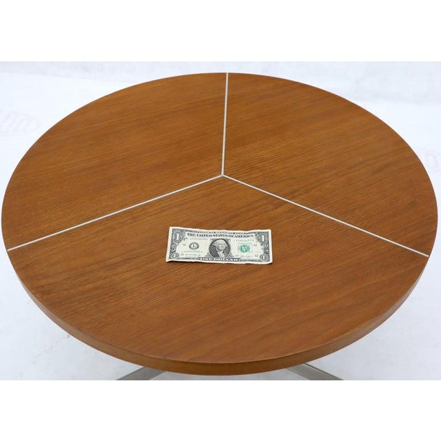 1970s Aluminum Inlay Walnut Top Tri Legged Side End Table For Sale - Image 5 of 12