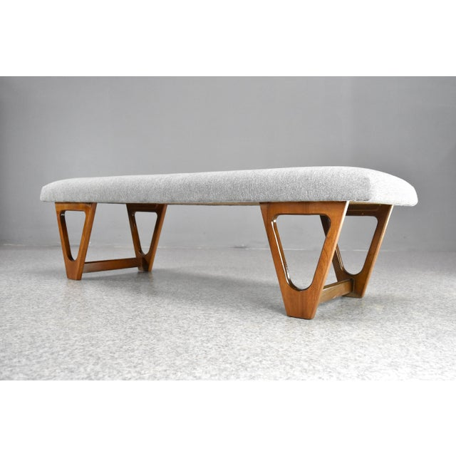 Mid-Century Modern Upholstered Bench For Sale - Image 10 of 10