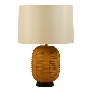 Large Textured Stoneware Lamp With Custom Silk Drum Shade by Bob Kinzie For Sale