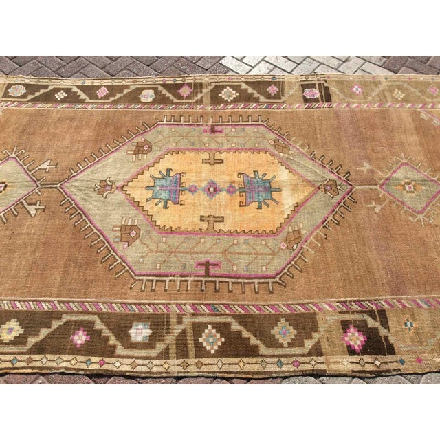 Brown Hand Knotted Brown Turkish Rug For Sale - Image 8 of 12