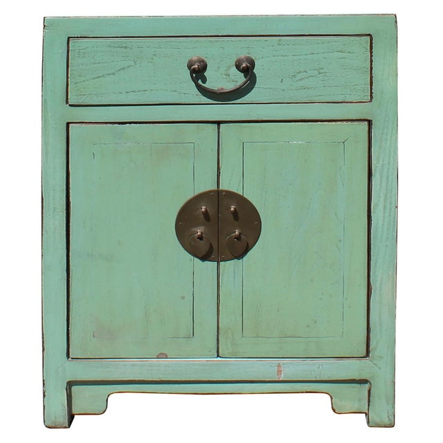 Oriental Distressed Light Teal Green Lacquer Side End Table Nightstand For Sale In San Francisco - Image 6 of 6