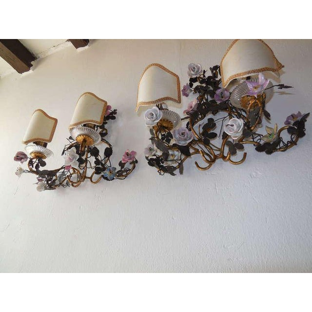 French Huge Porcelain Flowers Roses Tole Sconces For Sale - Image 10 of 10