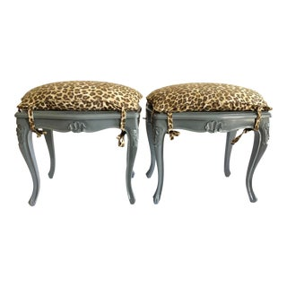 French Ottomans With Leopard Print- A Pair For Sale