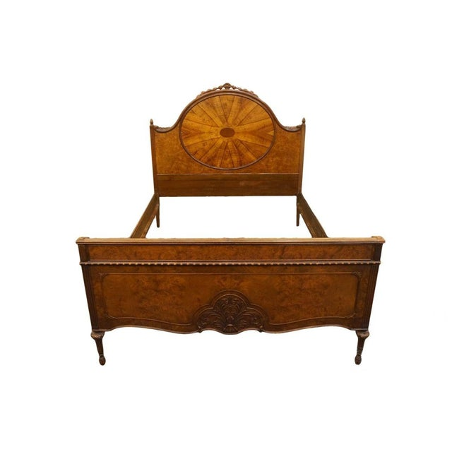 20th Century French Berkey & Gay Burled Walnut Full Size Bed For Sale - Image 13 of 13