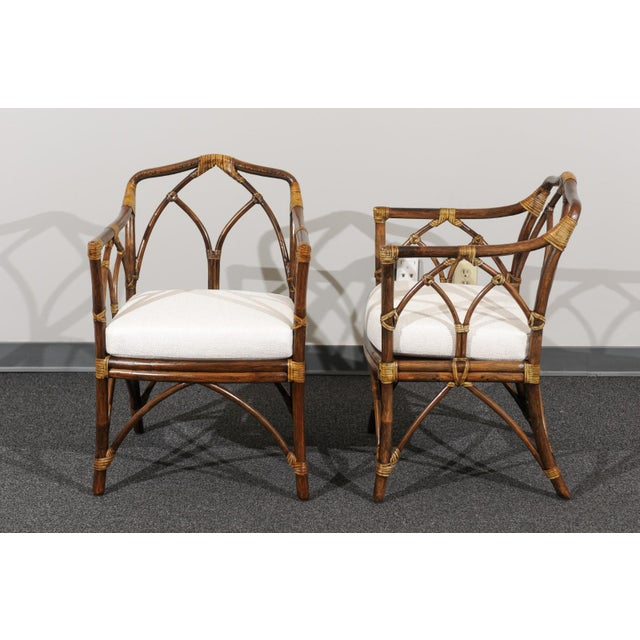Chic Restored Set of 8 Modern Arm Dining Chairs by McGuire, circa 1975 For Sale In Atlanta - Image 6 of 13