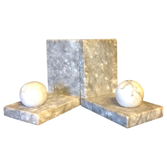 Italian Minimalist Marble Bookends - A Pair - Image 1 of 5