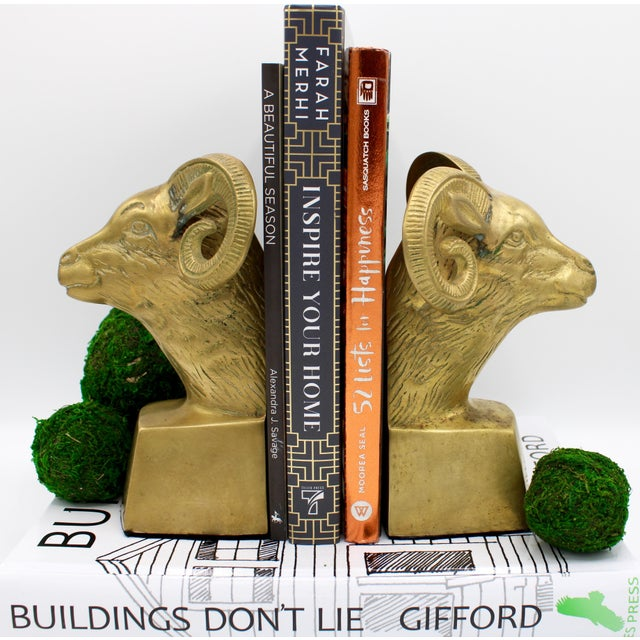 Brass Hollywood Regency Brass Ram Head Bookends - a Pair For Sale - Image 8 of 9