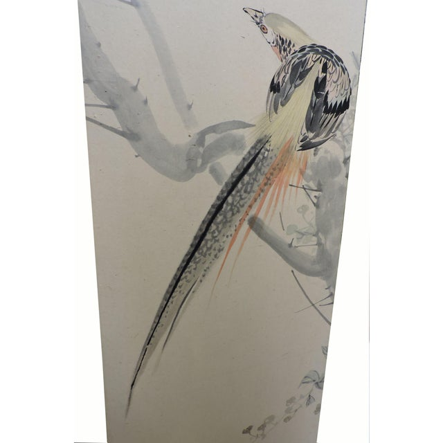Pair of Hand Painted Japanese Panel Screens With Birds and Flowers For Sale - Image 11 of 13