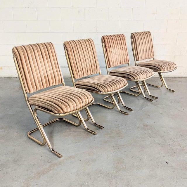 1970s Chromcraft Velvet & Brass Dining Chairs- Set of 4 For Sale - Image 12 of 12