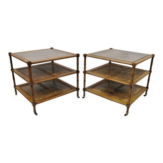 20th Century Hollywood Regency John Widdicomb Faux Bamboo Three Tiered Cane Square Side Tables - a Pair For Sale