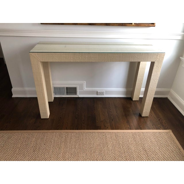 2010s Contemporary Grasscloth Wrapped Parsons Console For Sale - Image 5 of 5