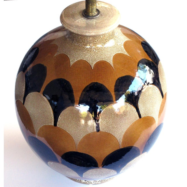 Modern A bold pair of Italian 1970's handmade ovoid-shaped ceramic lamps with imbricating glaze For Sale - Image 3 of 4