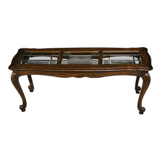 Mid-Century French Country Console Table With Authentic Beveled Leaded Glass Panels
