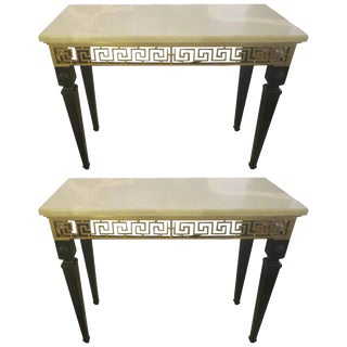 Pair of Ebonized Marble-Top Consoles Featuring Bronze Greek Key Pattern Design For Sale