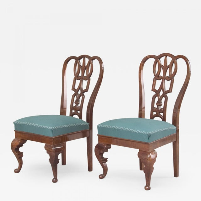 Lajos Kozma A Pair of Side Chairs Hungary Carved Walnut Dimensions W. 22.05 in; H. 38.19 in; D. 21.26 in; Excellent Circa...