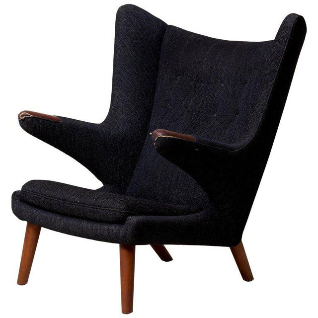Hans J. Wegner Papa Bear Chair in Black Fabric For Sale - Image 10 of 10