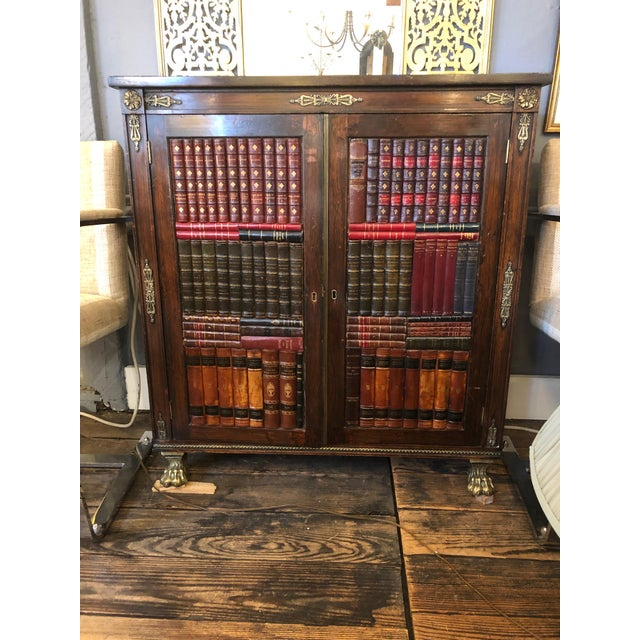 19th Century Antique Regency Rosewood Grain Painted Bookcase Cabinet For Sale - Image 12 of 12