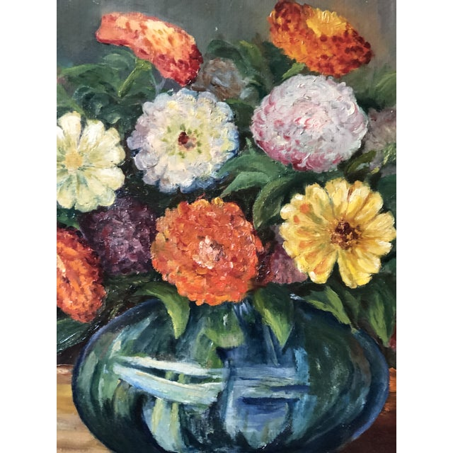 Farmhouse Bright and Cheerful 1940s Floral Still Life For Sale - Image 3 of 13