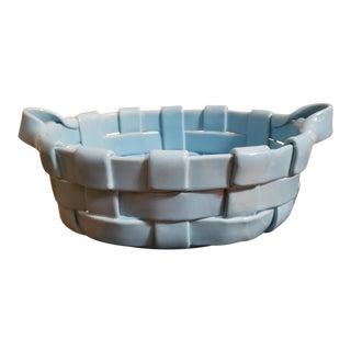 Mid 20th Century Italian Handmade Teal Ceramic Woven Bread Basket For Sale