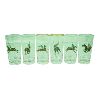 Mid 20th Century Vintage Polo Player Highball Glasses- Set of 6 For Sale