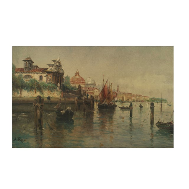 Illustration Pair of Italian Venetian Canal Scene Paintings, 19th Century For Sale - Image 3 of 4