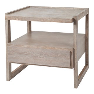 Rita Konig Collection Hudson Nightstand Oak in Cerused Oak For Sale