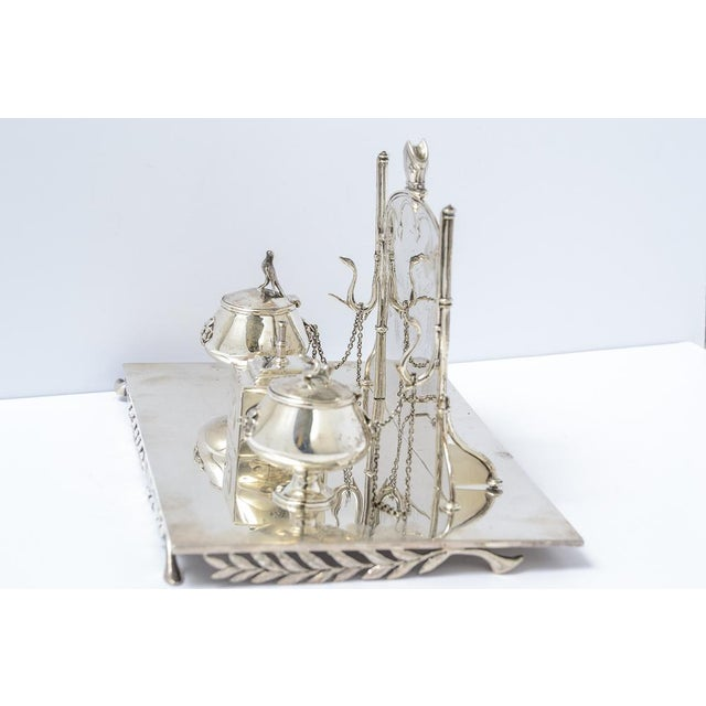 Metal Sterling silver inkstand For Sale - Image 7 of 9