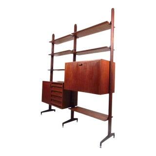 Vintage Modern Italian Teak Wall Unit Bookshelf For Sale