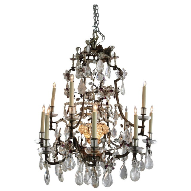 Louis XV Rock Crystal Chandelier by Maison Baguès Lighting in Paris For Sale - Image 10 of 10
