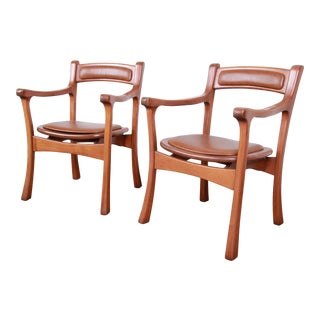 1960s Sculpted Solid Teak and Leather Studio Crafted Club Chairs - a Pair For Sale