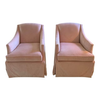 Contemporary Highland House Raleigh Skirted Swivel Chairs - a Pair For Sale