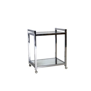Mid Century Modern Chrome Bar Cart Trolley For Sale