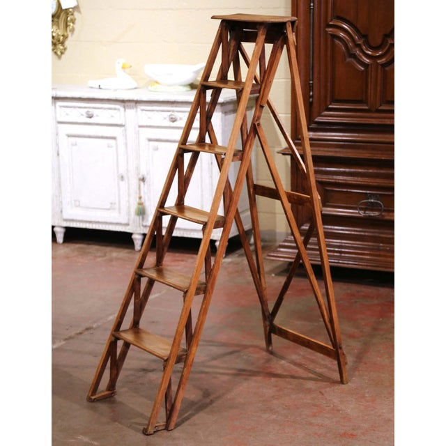 19th Century French Napoleon III Carved Walnut Folding Library Six-Step Ladder For Sale - Image 11 of 11