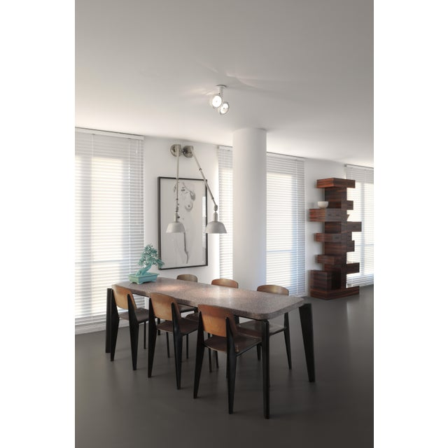 Jean Prouve Dining Table and Chairs – Granito Table and 6 Metropole Chairs For Sale - Image 10 of 10