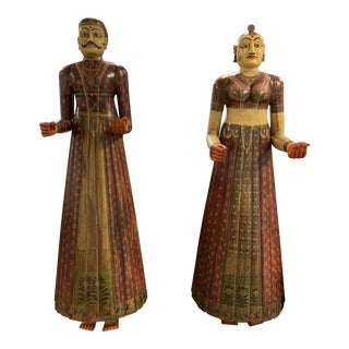 Antique Indian Rajasthani Figures a Pair For Sale
