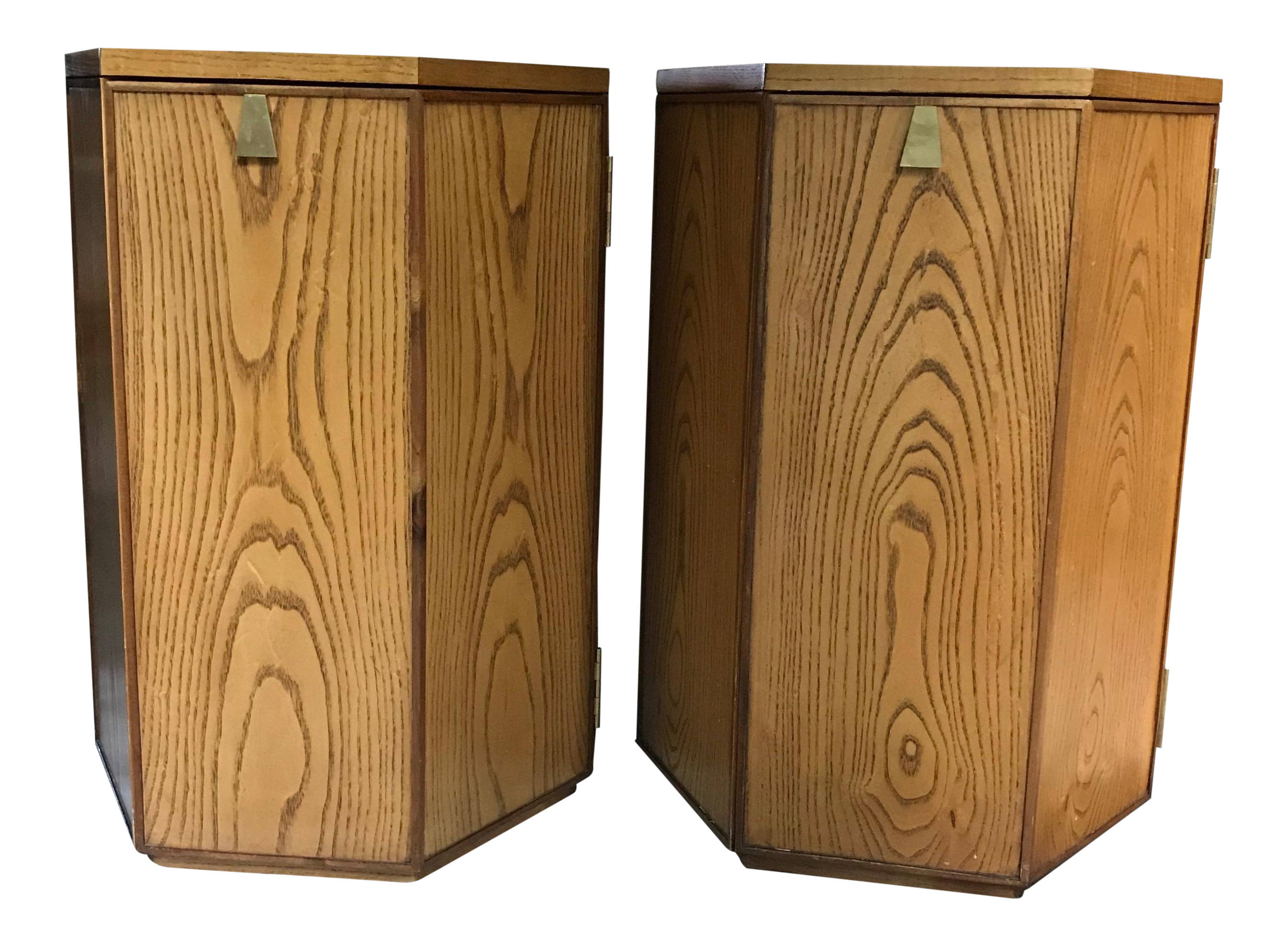 Pair Of Precedent Solid French Oak And Solid Brass Accent Side Tables