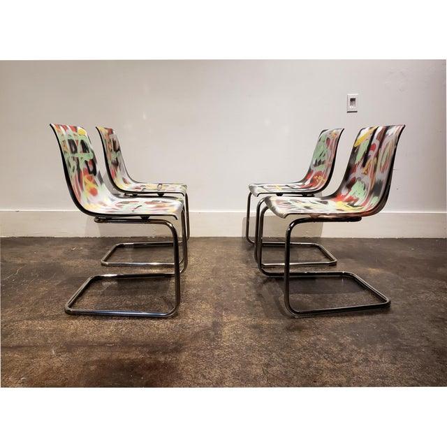 2020s Graffitied Carl Ojerstam Chairs Painted by Artist Lionel Lamy For Sale - Image 5 of 9