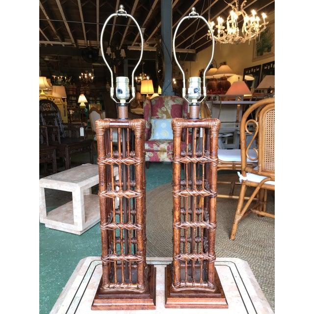 Brown Island Style Coastal Regency Rattan Lamps-A Pair For Sale - Image 8 of 9