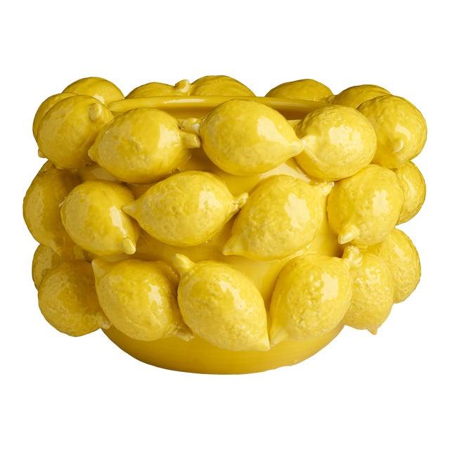Ceramic Lemon Planter, Yellow For Sale
