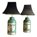 Image of Green & Gilt Decorated Tôle Tea Canister Lamps - A Pair For Sale