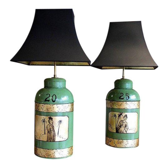 Green & Gilt Decorated Tôle Tea Canister Lamps - A Pair For Sale
