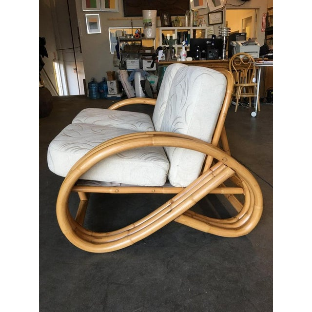 Bamboo Restored Three-Stranded 3/4 Round Pretzel Sectional Loveseat Sofa For Sale - Image 7 of 8