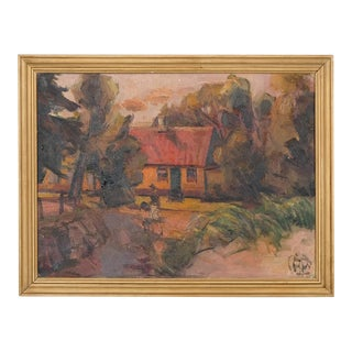 Expressionist Earth Toned House Landscape For Sale