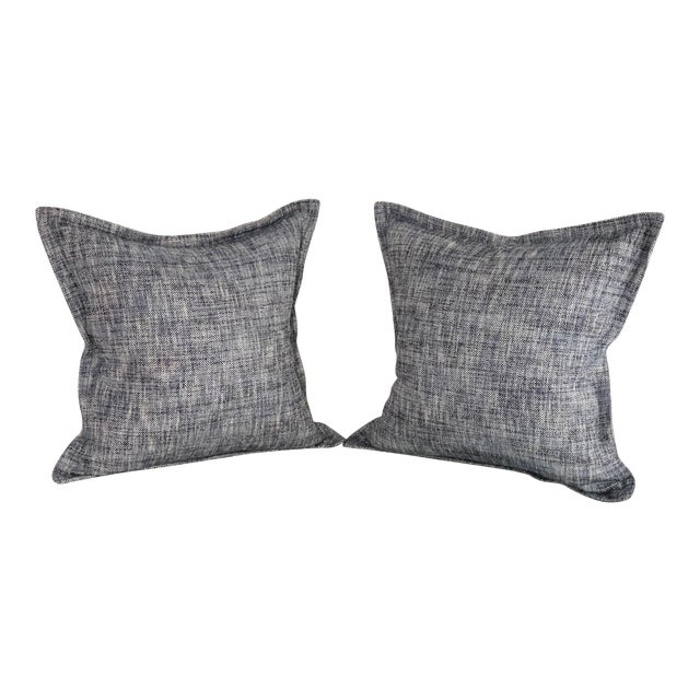 """Pair of 20"""" Cotton Tweed Pillows in Indigo Blue by Jim Thompson For Sale"""